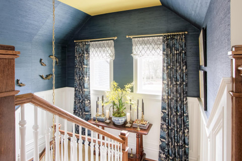 stairs, wallpaper, grasscloth, paint, painted ceiling, window treatments