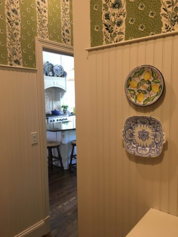 Dishes, Fabric upholstered walls, kitchen, Tilton Fenwick