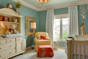 A decorated baby room, for interior design in Nashville, TN, by a top interior designer call Eric Ross Interiors.