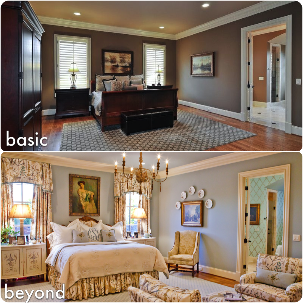 Before and after pictures of Interior design in Nashville, TN, ERI Nashville interior designers - Collins master bedroom.
