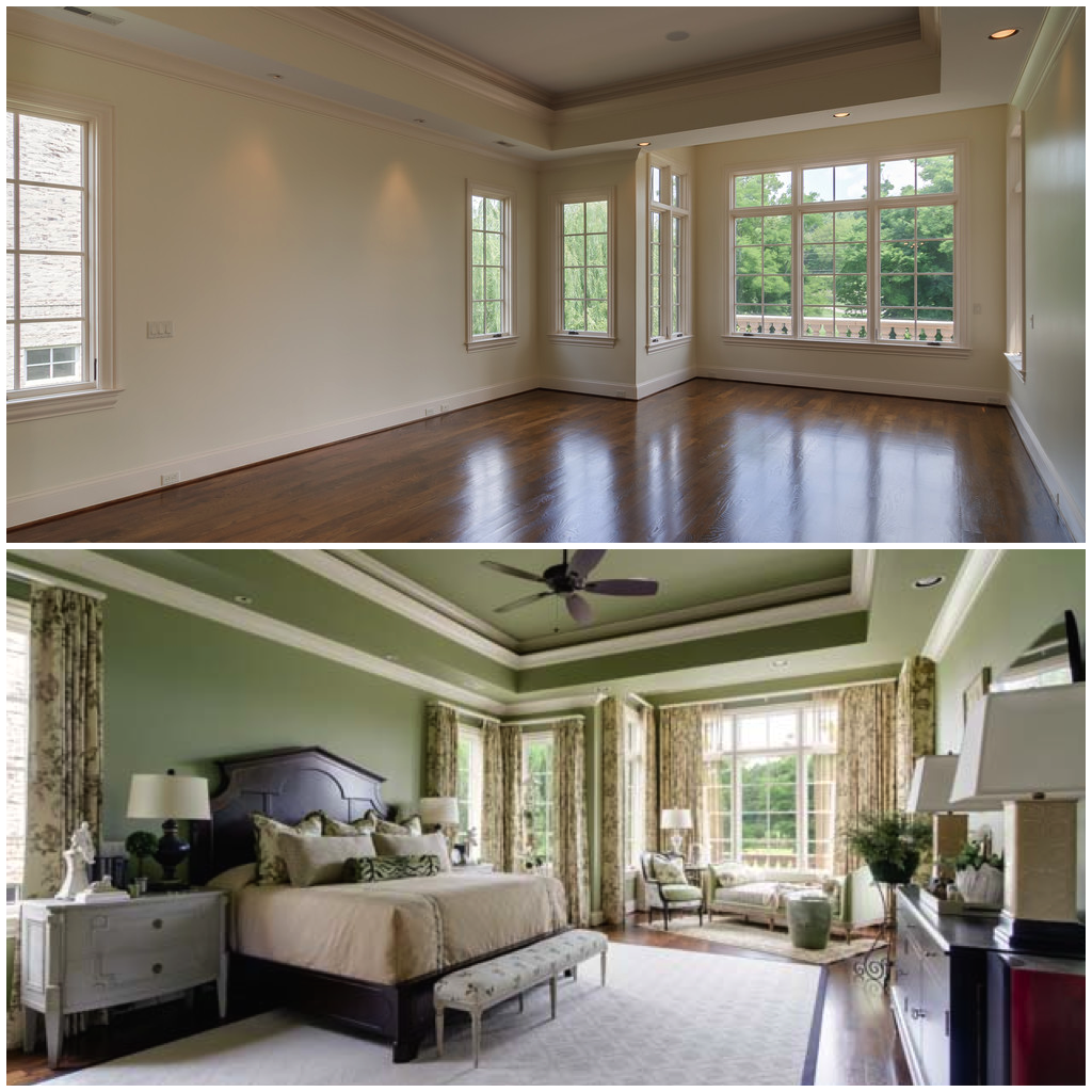 Before and after interior design in Nashville, TN by Nashville interior designers, Eric Ross Interiors, Freels bedroom.