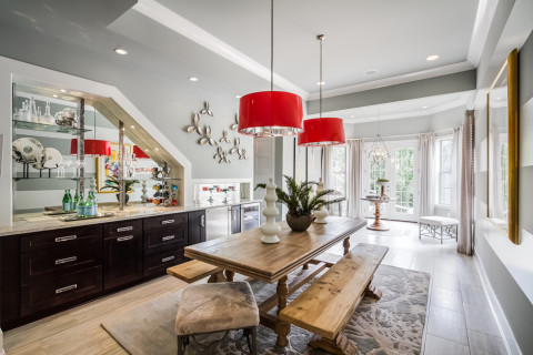 Nashville interior design by Eric Ross, example of a third color being used in non-fabric medium like light fixtures.