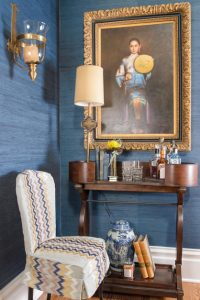 ZigZag Stripe Chair, Eric Ross Interiors, Nashville interior designers discuss interior design, fabric and stripes.