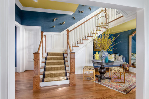Stairway, stairs, runner, foyer, show house, o'more, hardwood, painted ceiling, lighting, persian rug