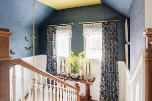 stairs, wallpaper, grasscloth, paint, painted ceiling, window treatments, Nashville interior design by Eric Ross Interiors, interior designers and decorators.