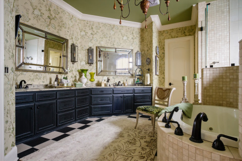 Master bath after renovation with Nashville interior Designers at Eric Ross Interiors, best interior designer in Nashville, TN.