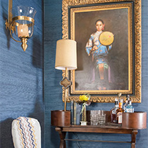 Art, wallpaper, Grasscloth, Nashville interior design by Eric Ross Interiors, interior designers and decorators.