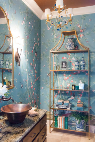 Beautiful bathroom wallpaper, interior design in Nashville, TN by Eric Ross Interiors