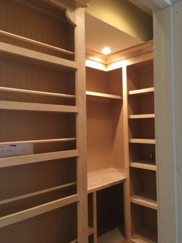 Space planning, builtin shelving