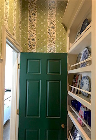Interior design in Nashville, TN, Tilton Finwick fabric by Duralee as wallpaper in Eric's dish room at Boxwood Hill.
