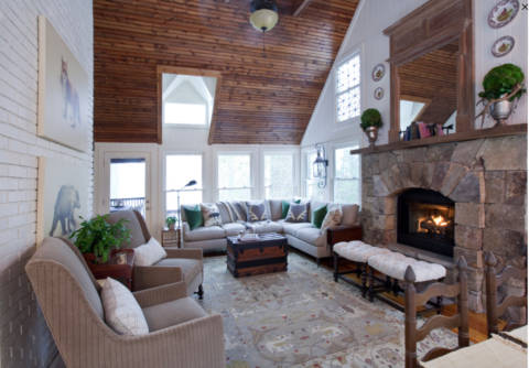 Mountain home interior design, top interior designer in Nashville, TN, Eric Ross used a softer color palette.