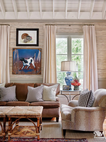 A room designed by designer James Farmer, Eric Ross article on Nashville interior design and paring fabrics and wallcoverings and the tendency to play it safe.
