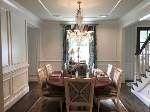 Renovated dining room with matching trim detail, interior design in Nashville, TN by Eric Ross Interiors.