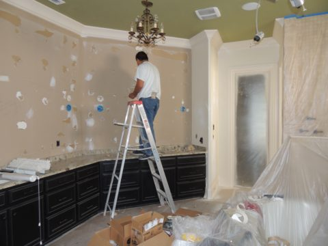 Master bath during renovation with Nashville interior Designers at Eric Ross Interiors.