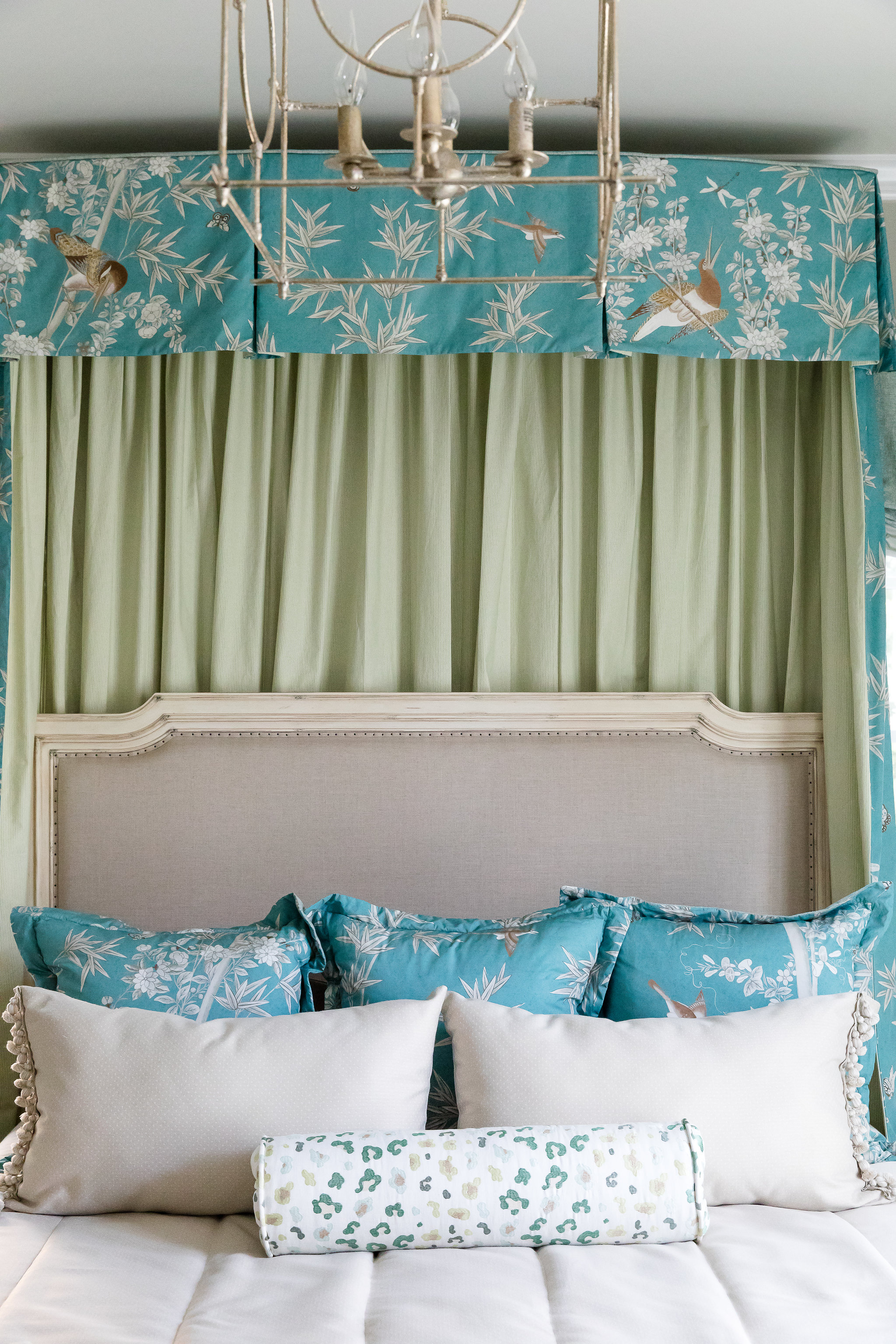 Canopy Bed with Chintz panels and Euro Pillows by Miles Redd, for interior design in Nashville, TN, call the interior designers at Eric Ross Interiors.