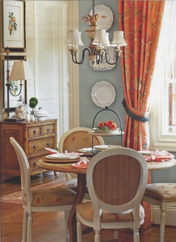 Breakfast room with Chintz drapery panels, for interior design in Nashville, TN, call Eric Ross Interiors today!