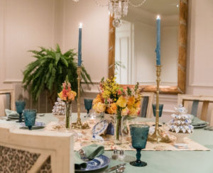 Blue and White Italian Porcelain Florals, mixed with English Biscuit Jars, Nashville interior design by Eric Ross Interiors.