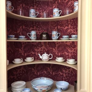 Corner Cupboards lined in damask wallcovering, Nashville interior designers visit the George Wythe House.