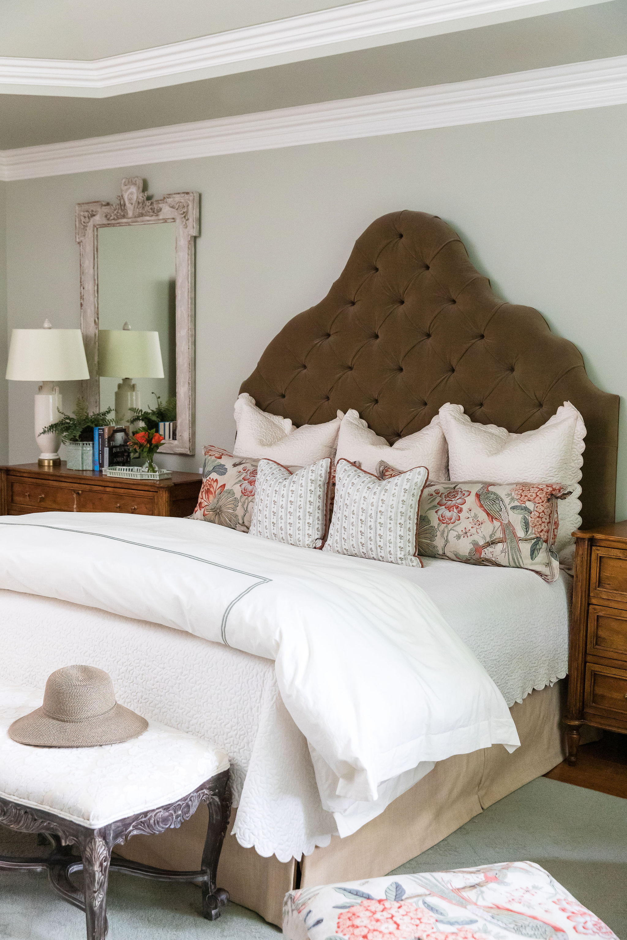 Upholstered headboard with large pillows, interior design in Nashville, TN by Eric Ross Interiors, call today to schedule your next design project.