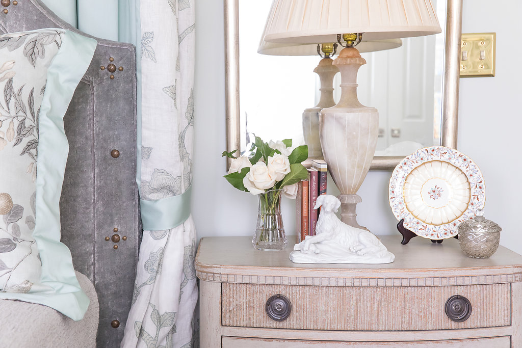 Bedside table night stand, interior design by Nashville interior designers, Eric Ross Interiors