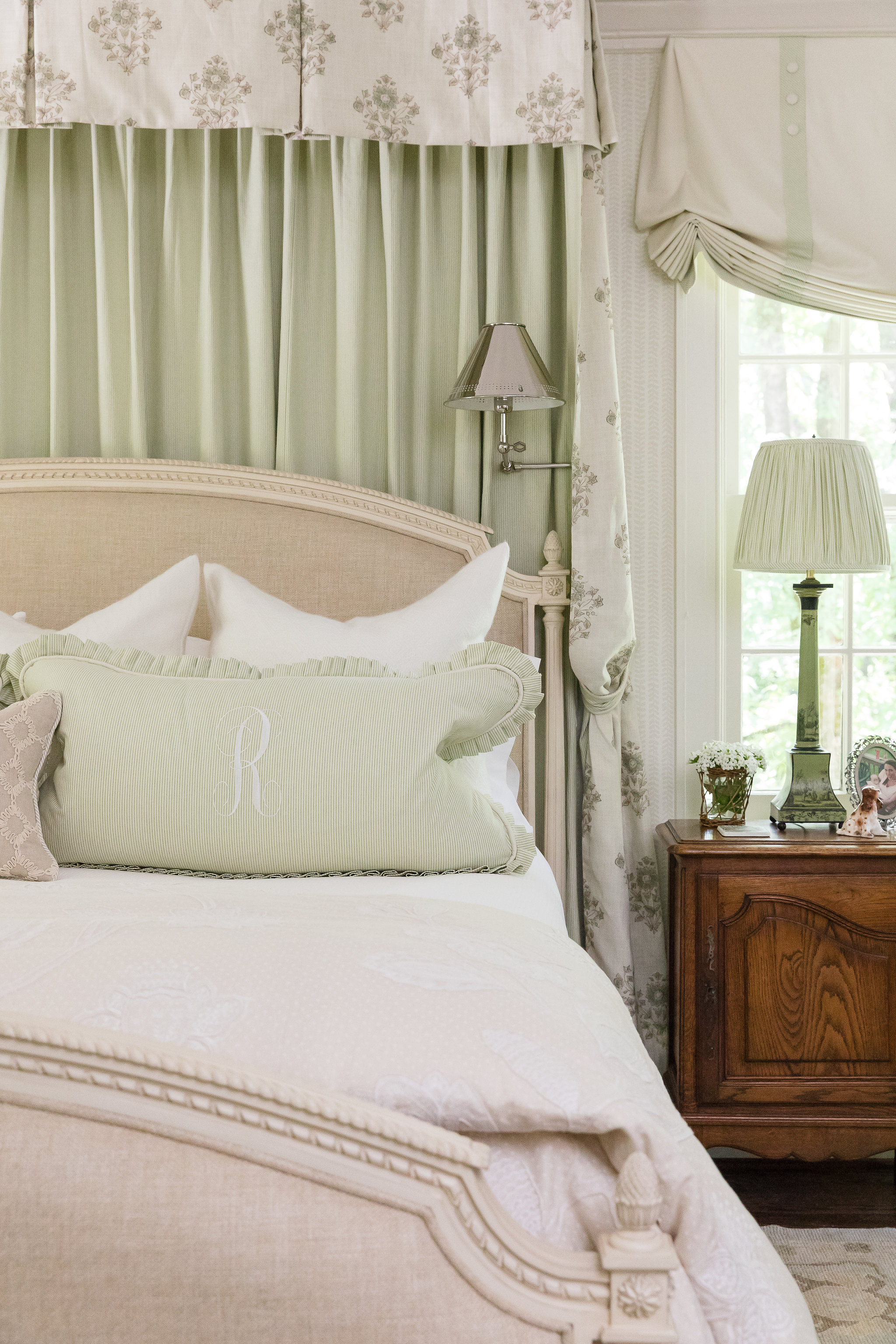 Master bed with ample lighting options, interior design in Nashville, TN by Eric Ross Interiors