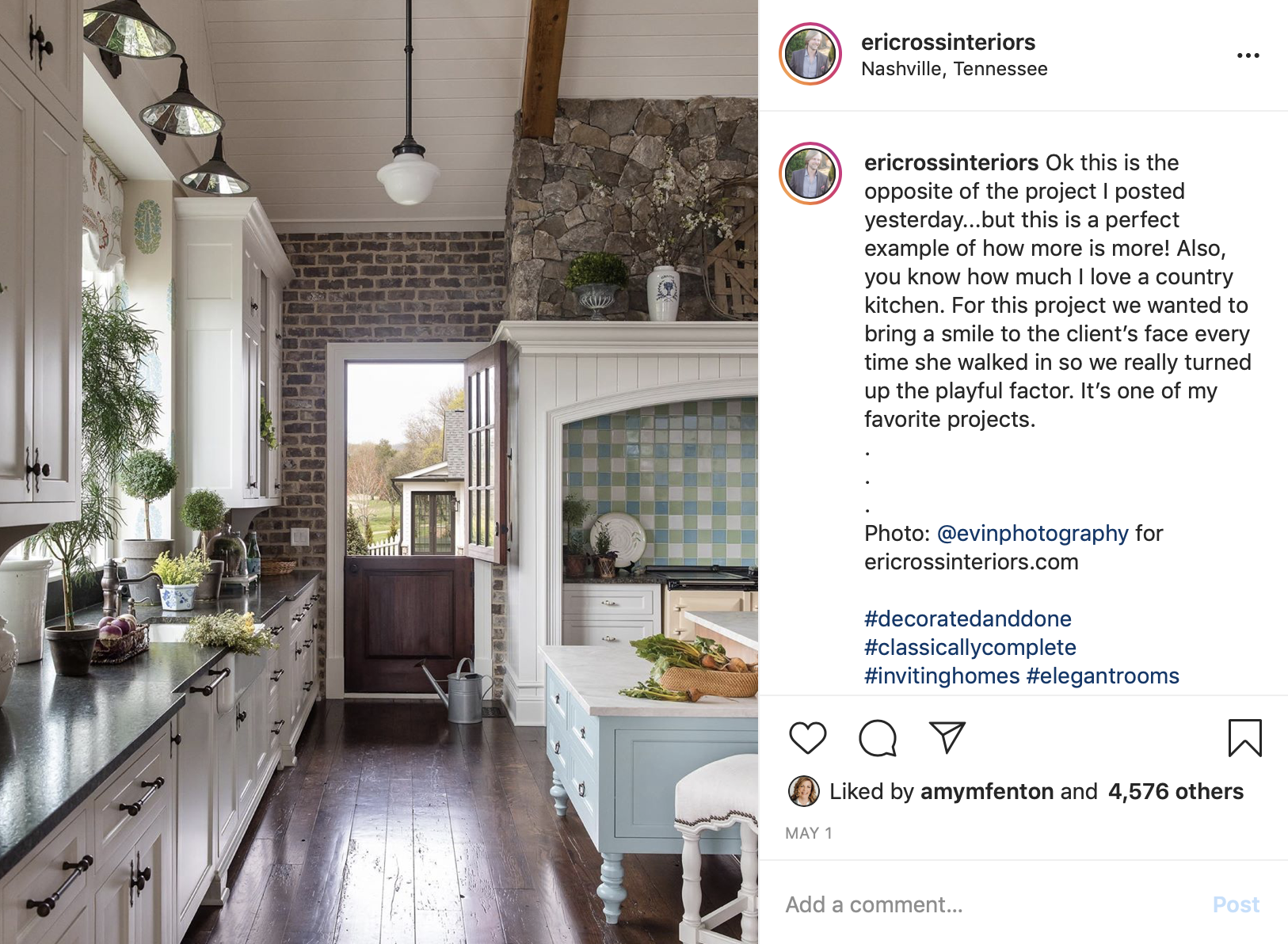 A beautiful kitchen, contact Nashville interior design firm, Eric Ross Interiors for your next interior design project.