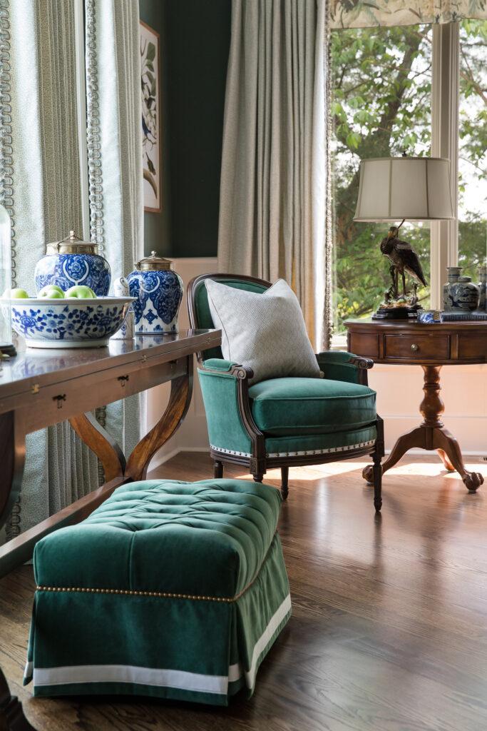 Deep Velvet, brass nailhead and blue and white porcelain, for Nashville interior design call Eric Ross Interiors, today.