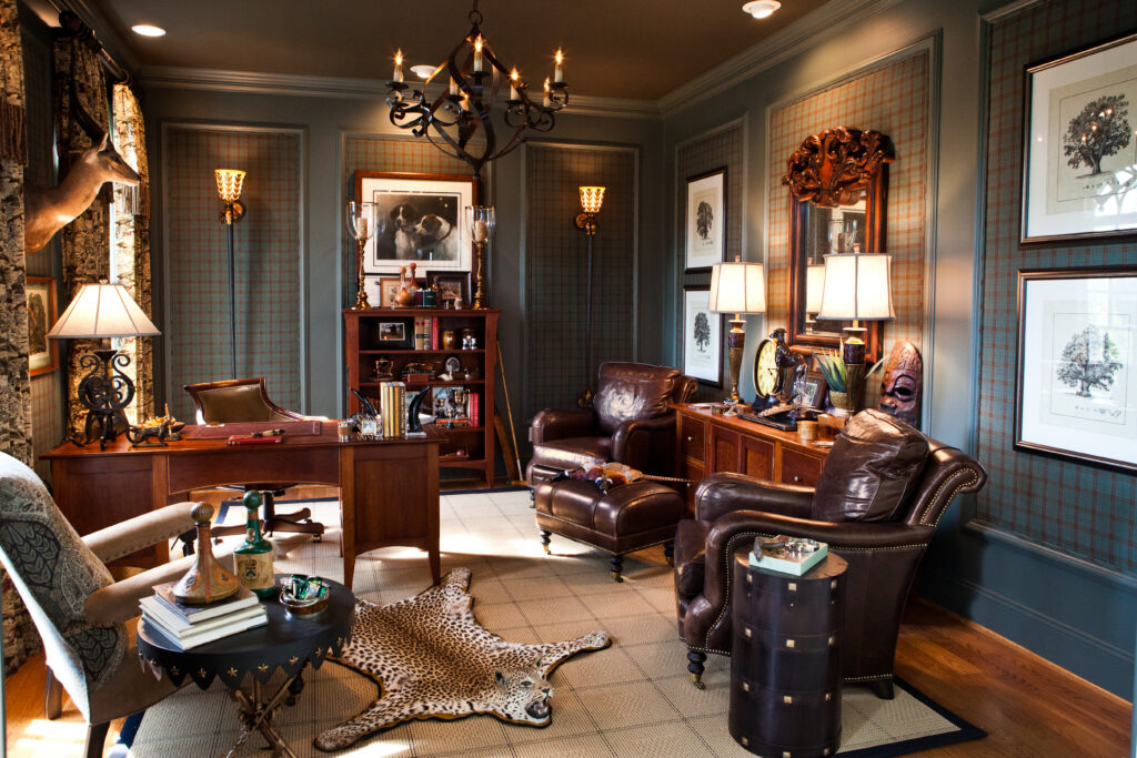 Plaid walls and dark wood combined with rich leather, interior design in Nashville, TN by Eric Ross Interiors, call 615.472.8236 today.