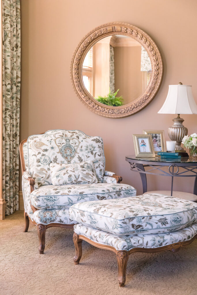 Master bedroom sitting area and interior design in Nashville by Eric Ross.